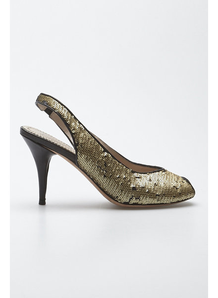 Jean-Michel Cazabat GOLDEN SEQUIN PUMPS