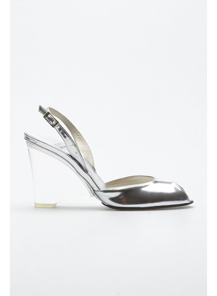 Stuart Weitzman SILVER LEATHER SHOES WITH TRANSPARENT HEEL