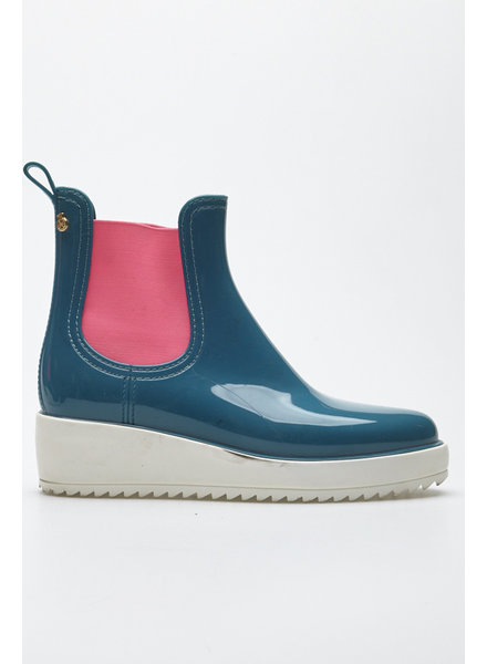 Lemon Jelly TURQUOISE AND PINK WEDGE RAIN BOOTS