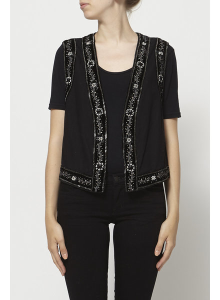 The Kooples BLACK SLEEVELESS EMBROIDERY VEST - NEW