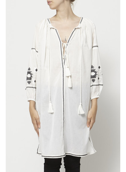 French Connection WHITE BEACH EMBROIDERY TUNIC