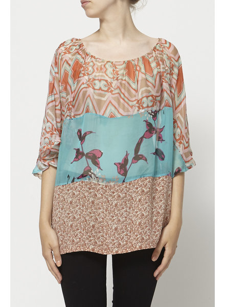 Marque inconnue ORANGE AND TURQUOISE SEE-THROUGH TOP