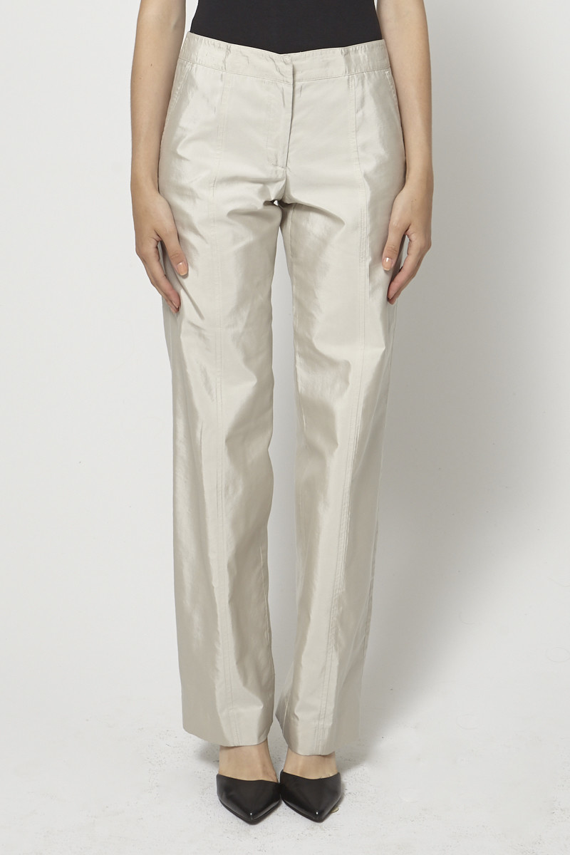 performance sportswear vast selection on wholesale Pantalon beige effet satiné - Giorgio Armani
