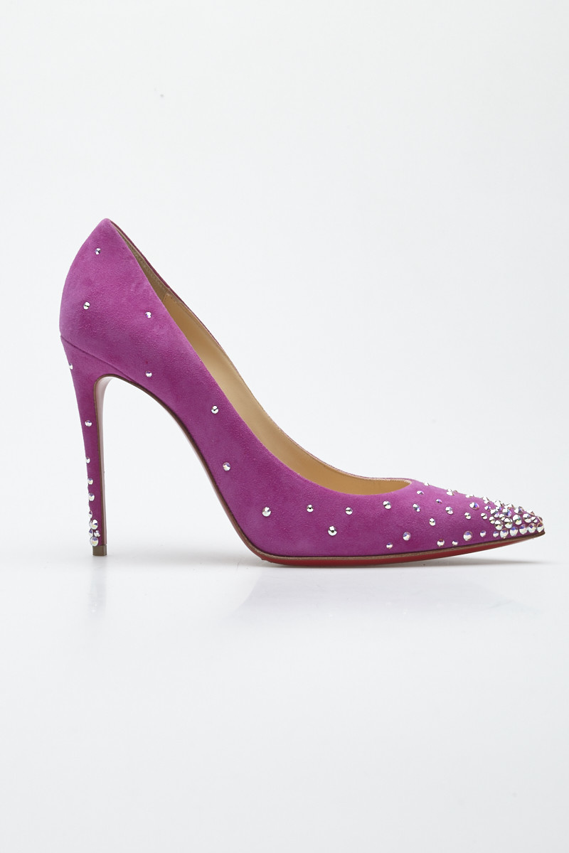 new arrival 3cc78 a8c32 Christian Louboutin 'Degrastrass 100' Fuchsia Strass-Embellised Suede Pumps