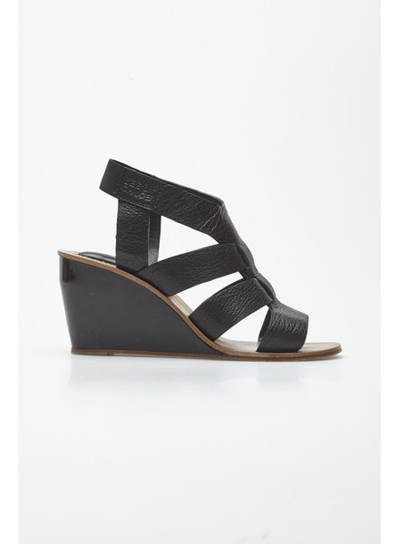 See by Chloe BLACK LEATHER SANDALS WITH WEDGE HEEL