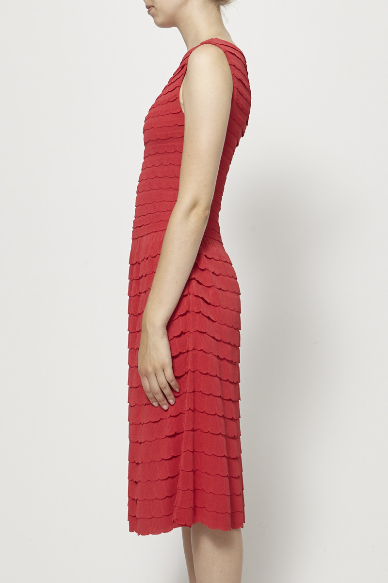 Christian Dior Red Scalloped Knitted Dress