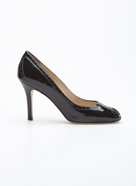 Kate Spade BLACK PATENT LEATHER PUMPS WITH OPEN TOES