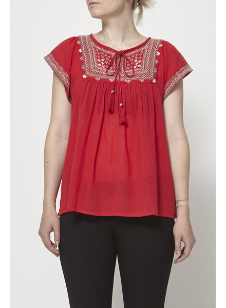 Star Mela RED EMBROIDERY TOP - NEW