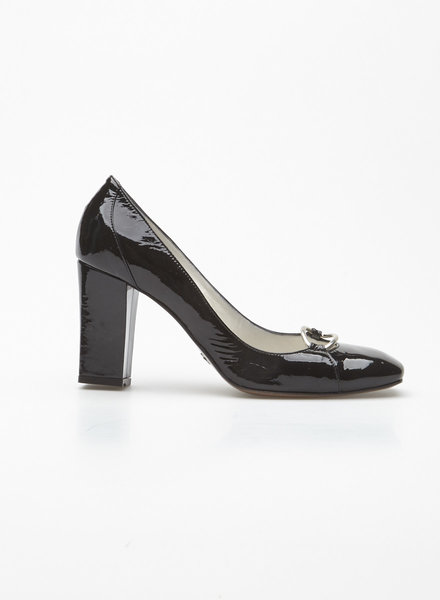 HUGO Hugo Boss BLACK BUCKLED PATENT LEATHER PUMPS