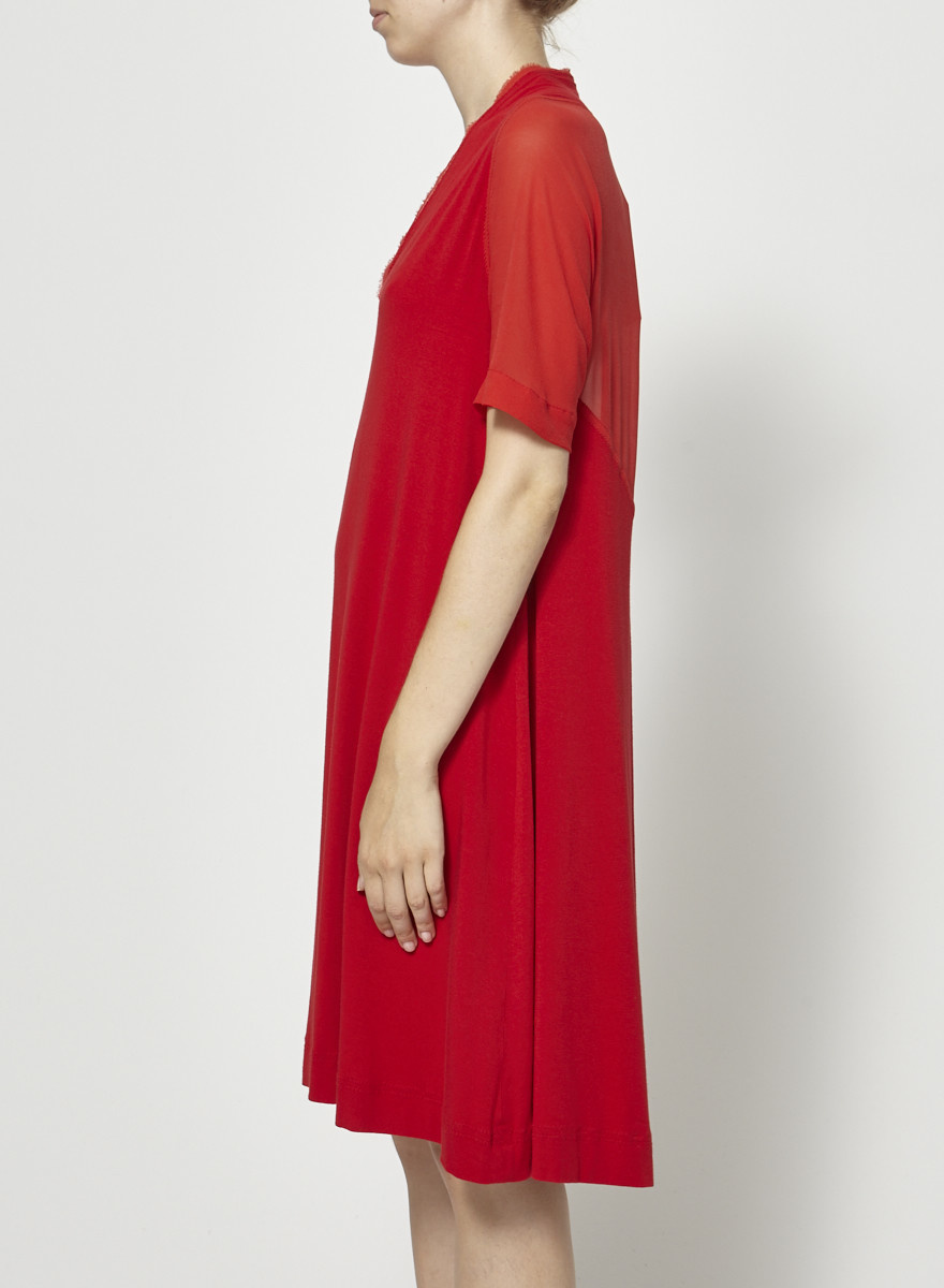 Marie Saint Pierre Red Textured Dress