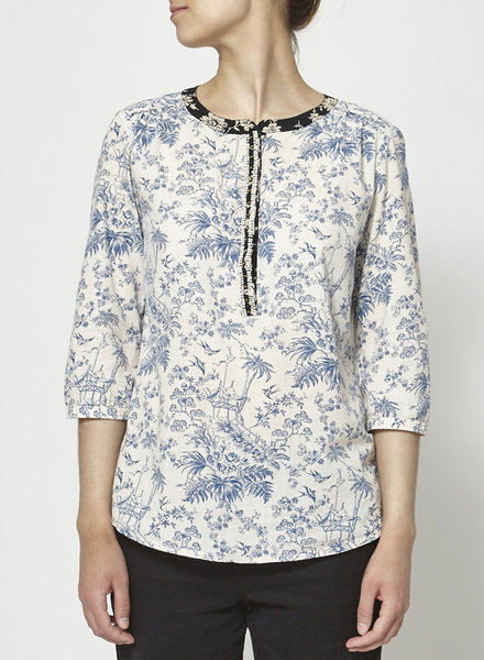 Maison Scotch PEARL-EMBELLISHED FLORAL-PRINT BLOUSE