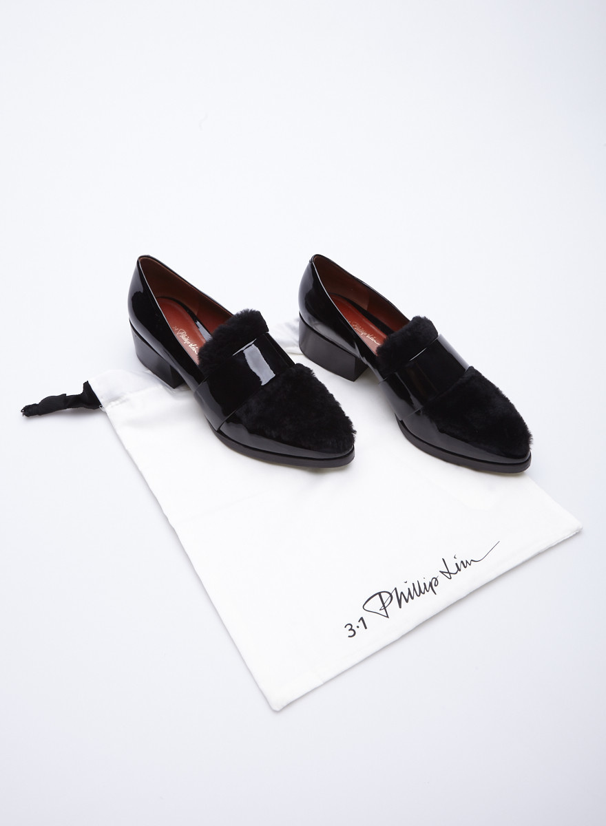 3.1 Phillip Lim 'Quinn' Black Patent Leather and Faux-Fur Loafers