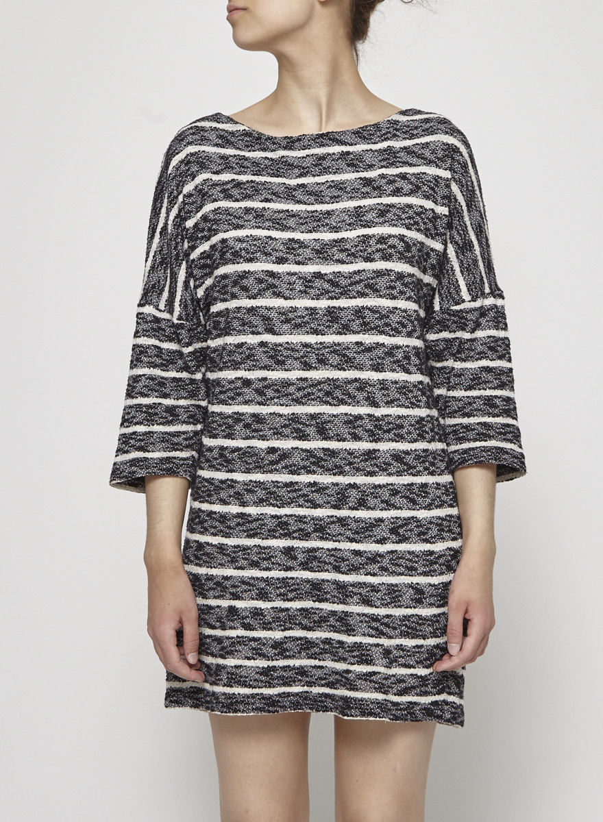 Valerie Dumaine Heathered Dress with White Stripes