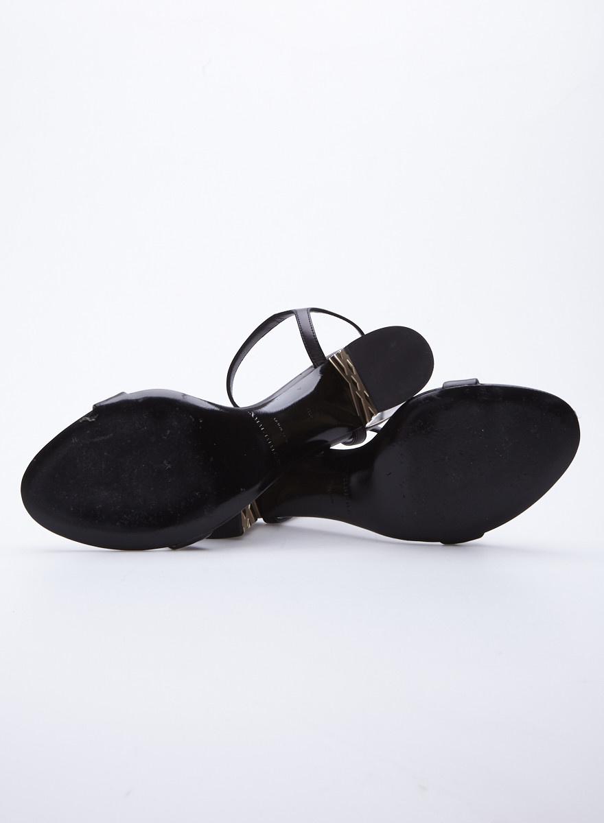 Burberry Black Block Heel Leather Sandals