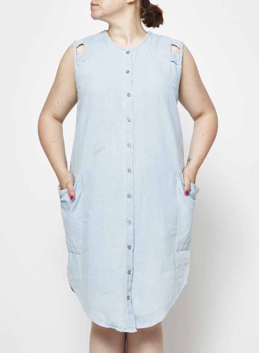 Eve Gravel Baby Blue Chambray Dress