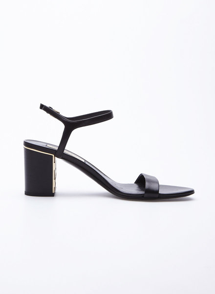 Burberry BLACK BLOCK HEEL LEATHER SANDALS