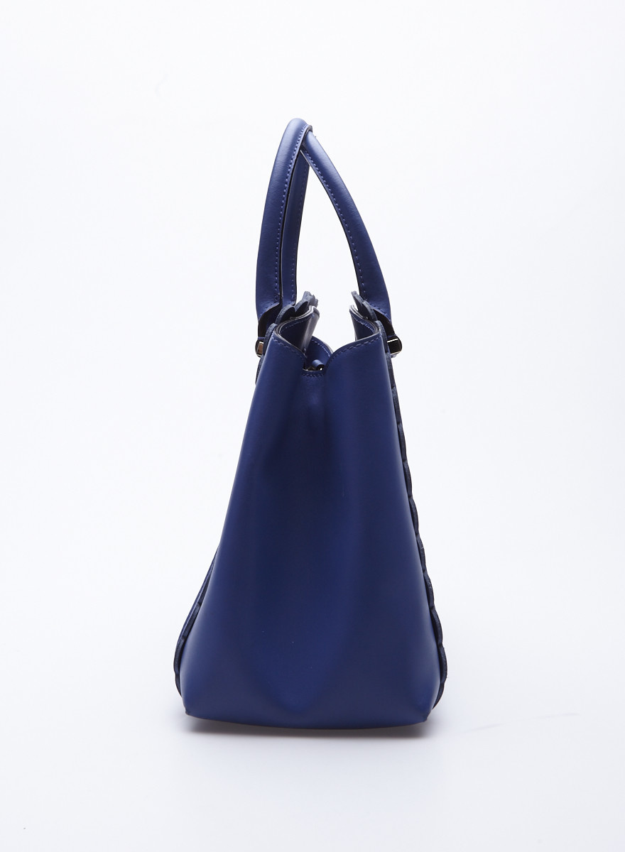 Kate Spade Blue Scalloped Leather Handbag