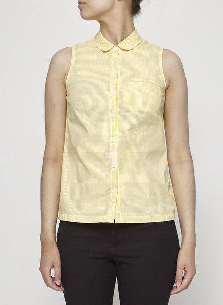 Betina Lou YELLOW GINGHAM SLEEVELESS SHIRT - NEW