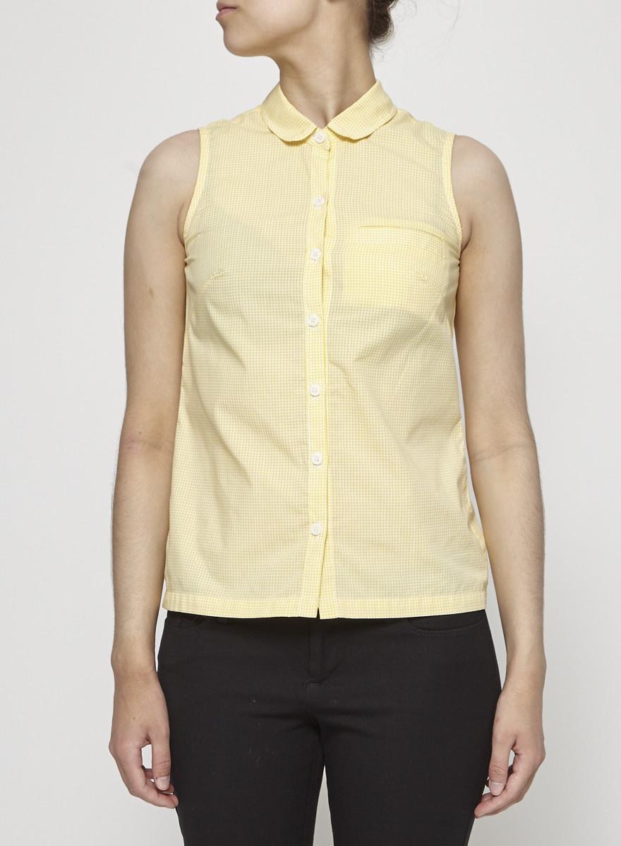Betina Lou Yellow Gingham Sleeveless Shirt - New