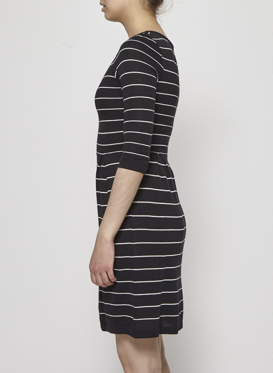 Betina Lou Black and White Striped Knitted Dress - New