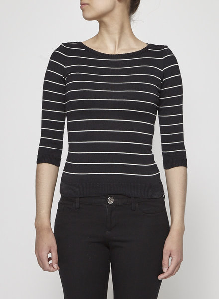 Betina Lou BLACK AND WHITE STRIPED SWEATER - NEW