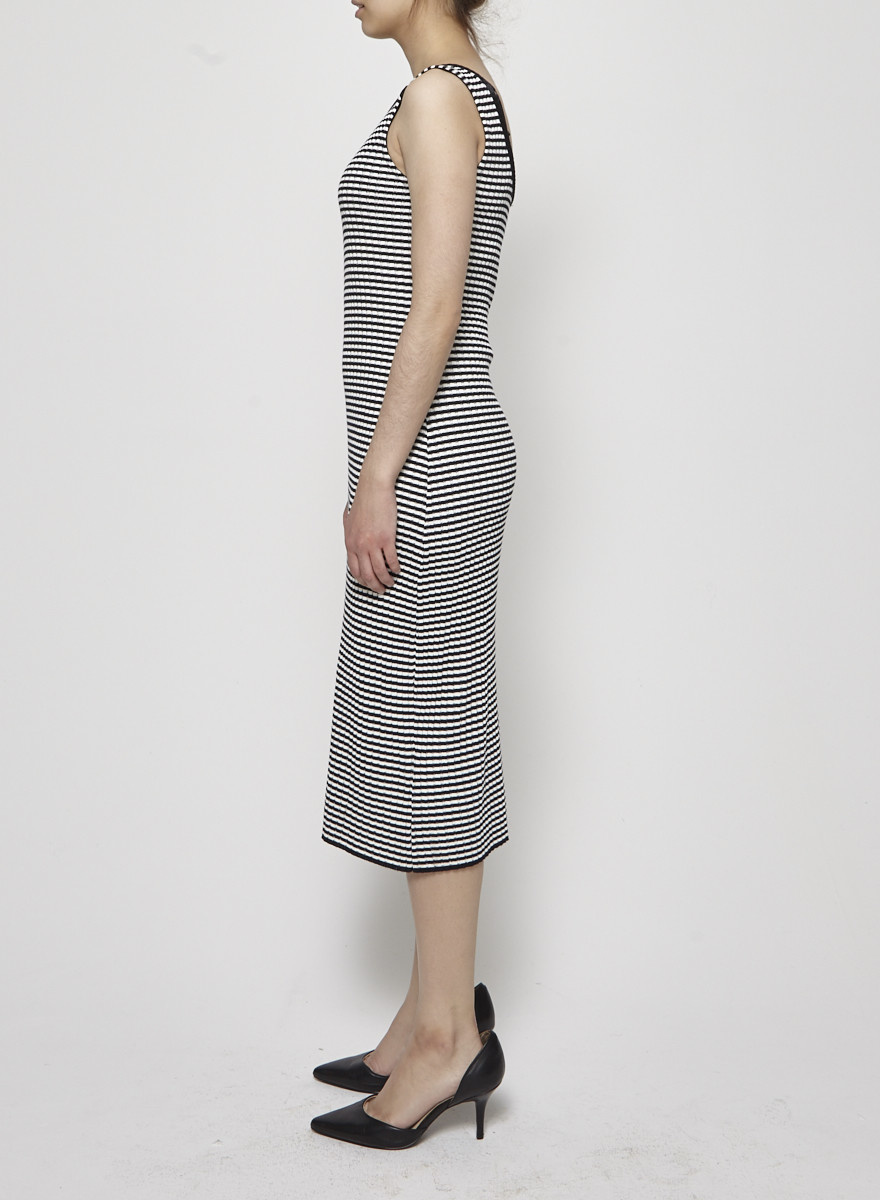 Betina Lou Black and White Striped Knitted Dress