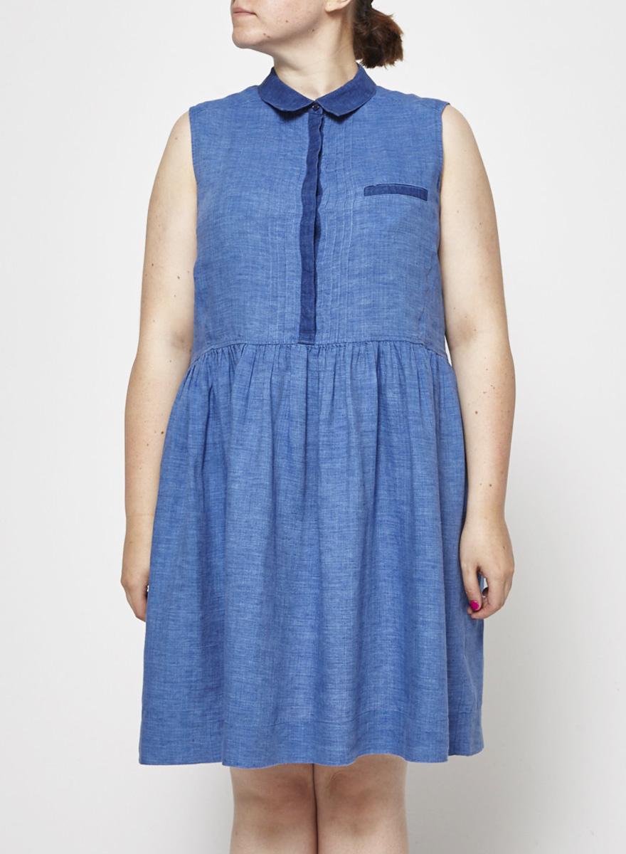 Comptoir des cotonniers Blue Linen Shirt Dress