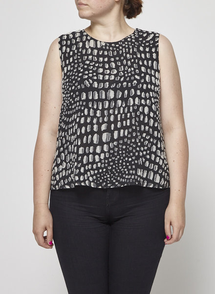 Joie ON SALE - BLACK PEARL-EMBROIDERED SILK TOP
