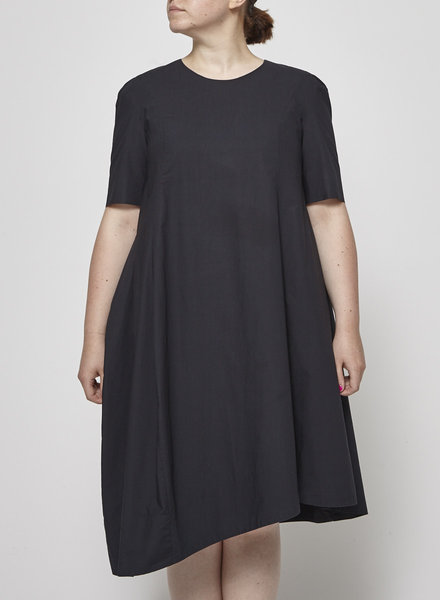 COS BLACK ASYMMETRICAL COTTON DRESS