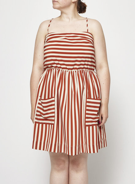 Betina Lou ORANGE AND WHITE STRIPED DRESS WITH POCKETS