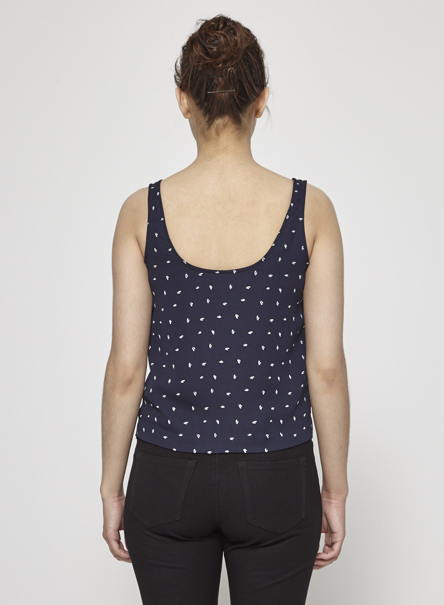 Betina Lou Navy Top with White Prints