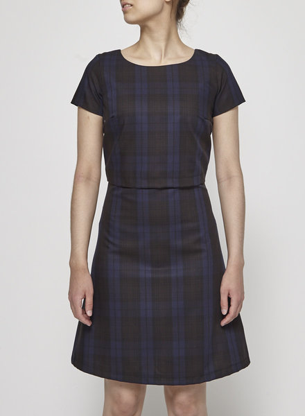 Betina Lou BLUE AND BROWN TARTAN DRESS - NEW
