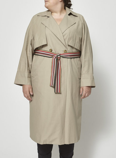 Marina Rinaldi SALE (WAS 350$) - TAUPE TRENCH DRESS WITH MULTICOLORED BELT