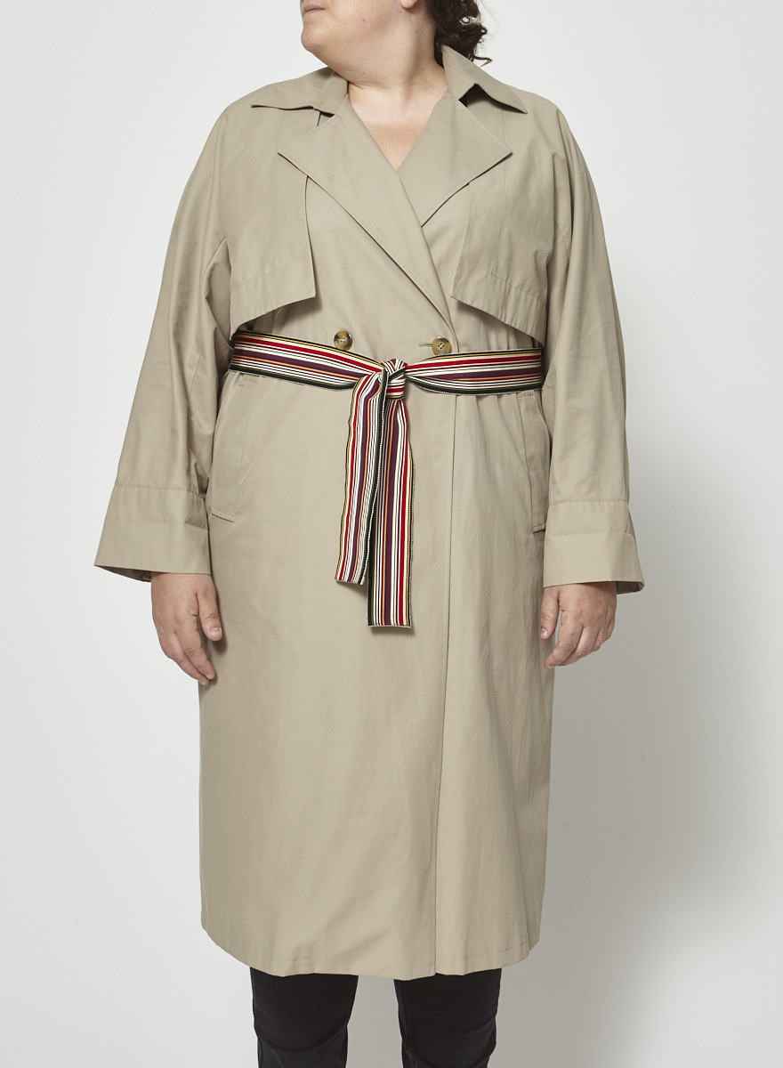 Marina Rinaldi Taupe Trench Dress with Multicolored Belt