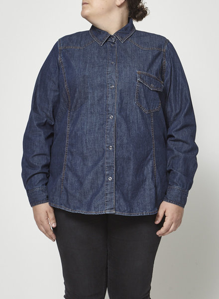 Persona Marina Rinaldi SALE (WAS $85) - CHAMBRAY ONE POCKET SHIRT