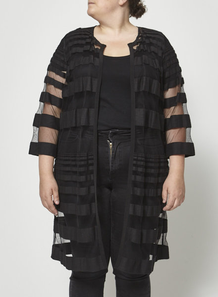 Marina Rinaldi STRIPED BLACK DIAPHANOUS JACKET