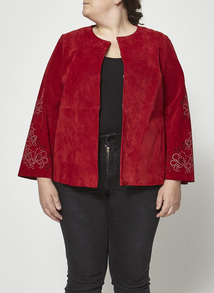 Marina Rinaldi RED SUEDE JACKET WITH EMBELLISHMENT ON THE SLEEVES