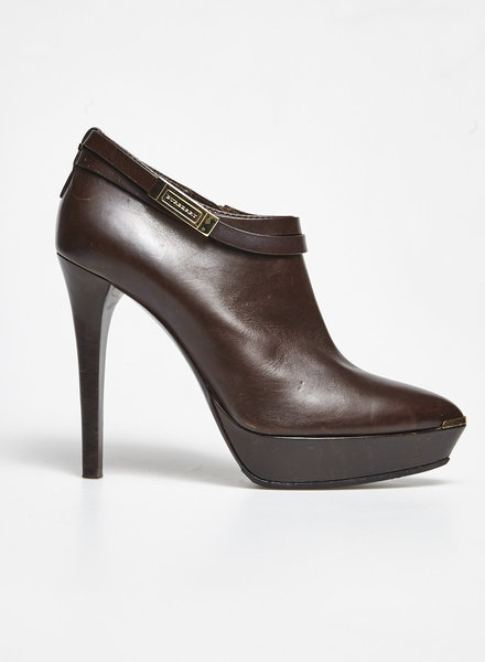 Burberry CHOCOLATE LEATHER HIGH HEEL BOOTIES