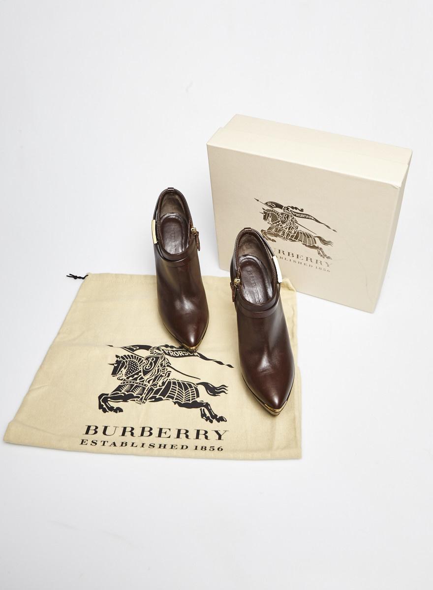 Burberry Chocolate Leather High Heel Booties
