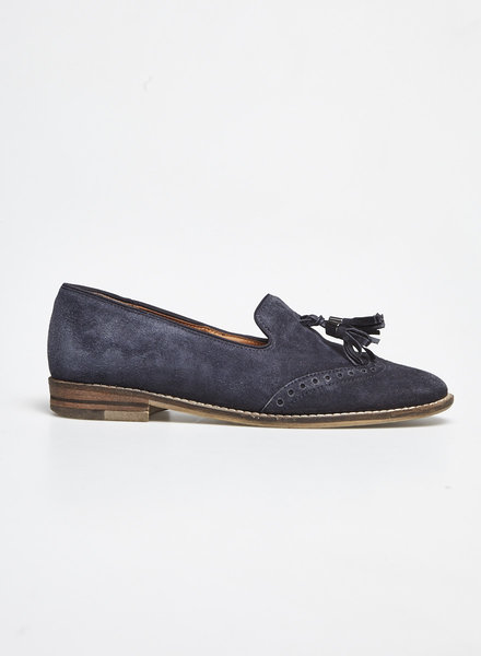 Ara NAVY SUEDE LOAFERS WITH FRINGES