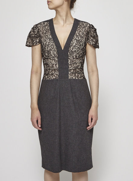 Red Valentino GRAY LACE AND HOUNDSTOOTH DRESS