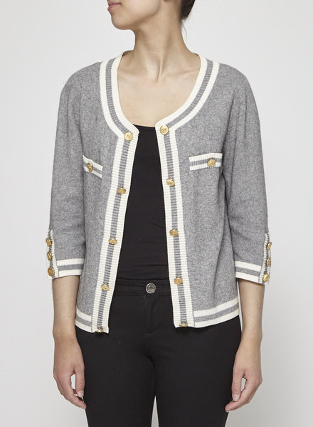 Juicy Couture GRAY CARDIGAN WITH GOLD BUTTONS