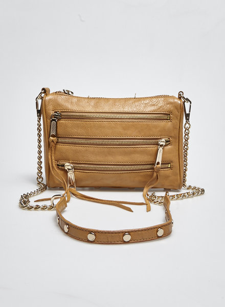 Rebecca Minkoff CAMEL ZIP-DETAILED LEATHER BAG