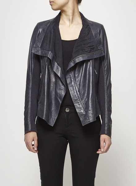 june NAVY LEATHER AND SILK JACKET