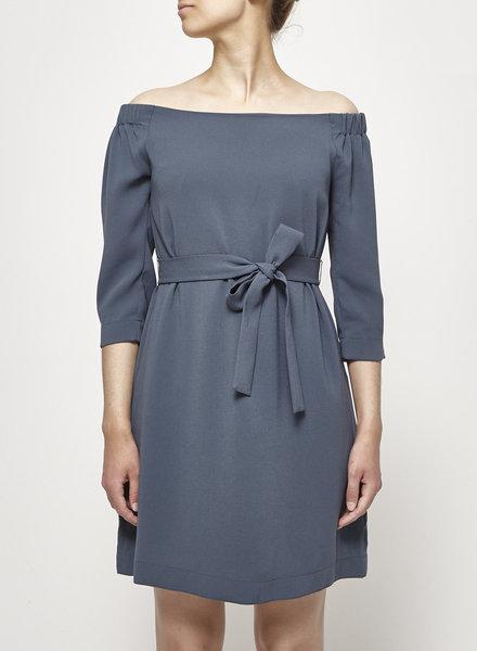 Babaton TEAL BLUE OFF-THE-SHOULDER DRESS