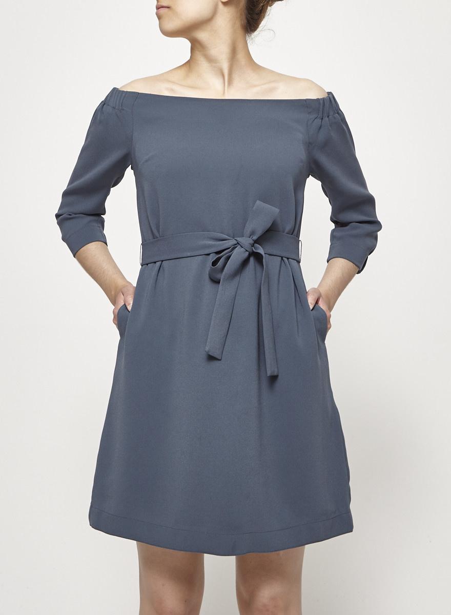 Babaton Robe bleu sarcelle à col Bardot