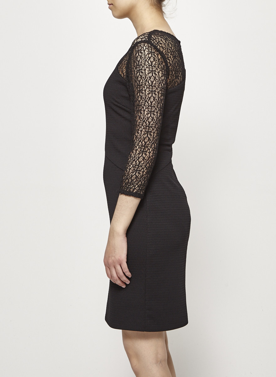 Black Lace-Paneled Dress