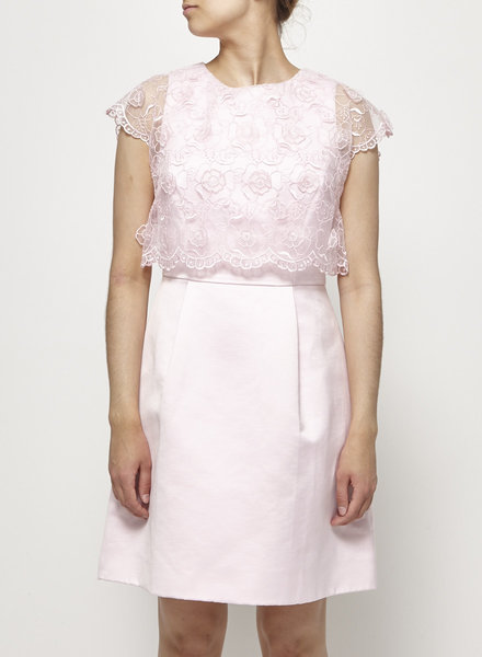Ted Baker CANDY PINK DRESS WITH SEE-THRU LACE EMBELLISHMENT - WITH TAGS