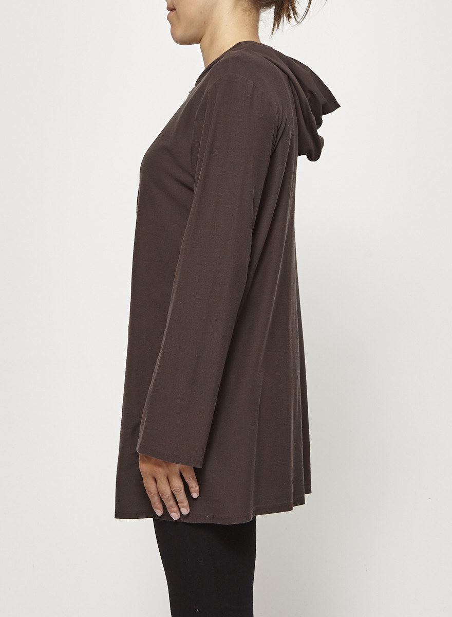 Eileen Fisher Long Brown Zip Vest