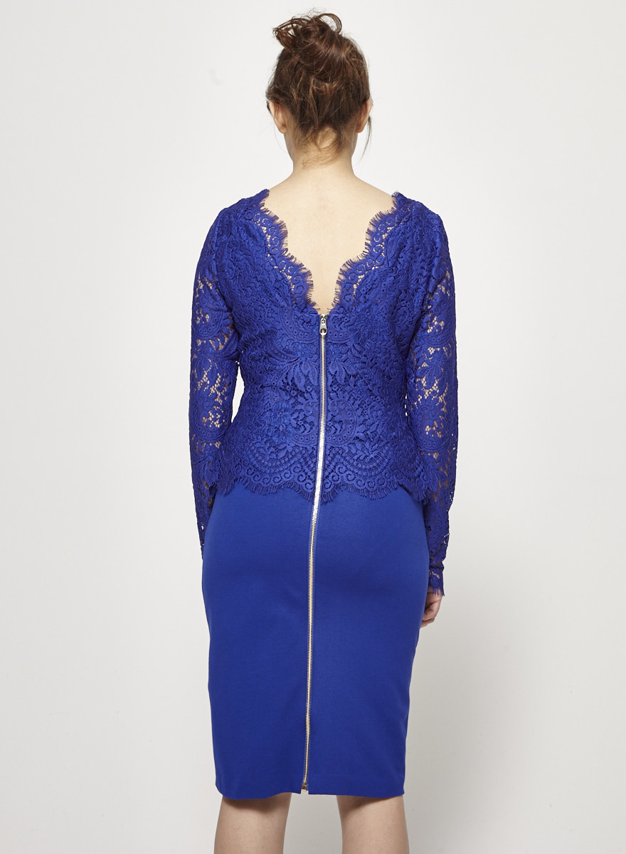 Ted Baker NEW PRICE (WAS $140) - INDIGO DRESS WITH LACE - NEW